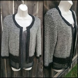 Black,Cream, & Gold Knit Open-Front Cardigan